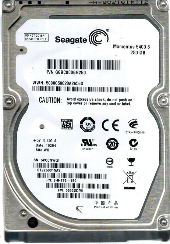 Seagate ST9250315AS P/N: 9HH132-150 F/W: 0002SDM1 250GB WU