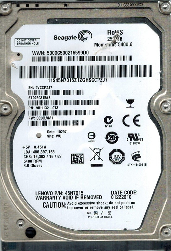 Seagate ST9250315AS 250GB P/N: 9HH132-073 F/W: 0020LVM1 WU