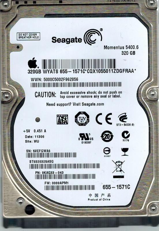 Seagate ST9320325ASG P/N: 9KAG33-043 F/W: 0009APM1 320GB WU