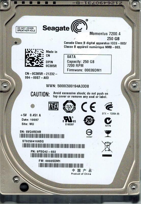 Seagate ST9250410ASG P/N: 9PSG42-032 F/W: 0003SDM1 WU 250GB