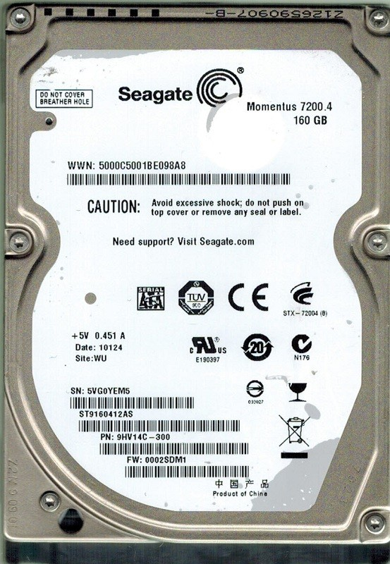Seagate ST9160412AS 160GB P/N: 9HV14C-300 F/W: 0002SDM1 WU