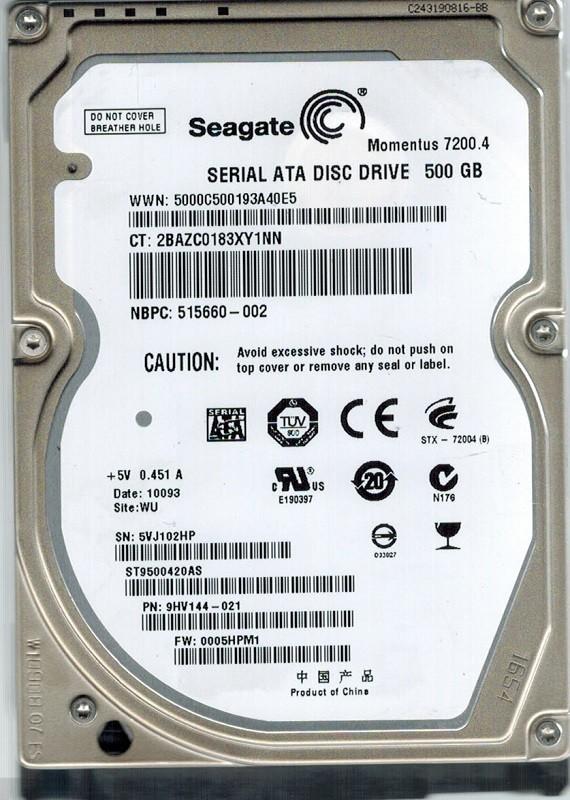 Seagate ST9500420AS P/N: 9HV144-021 F/W: 0005HPM1 500GB WU