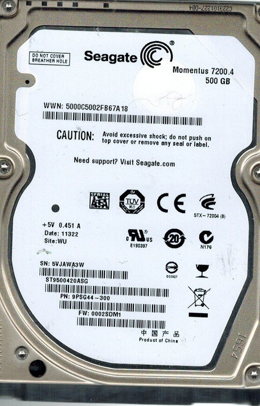 Seagate ST9500420ASG P/N: 9PSG44-300 F/W: 0002SDM1 500GB WU