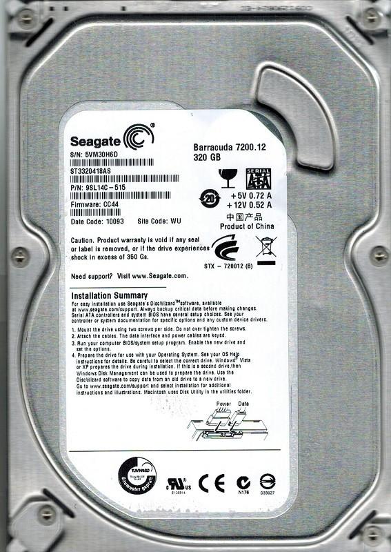 Seagate ST3320418AS P/N: 9SL14C-515 F/W: CC44 WU 320GB