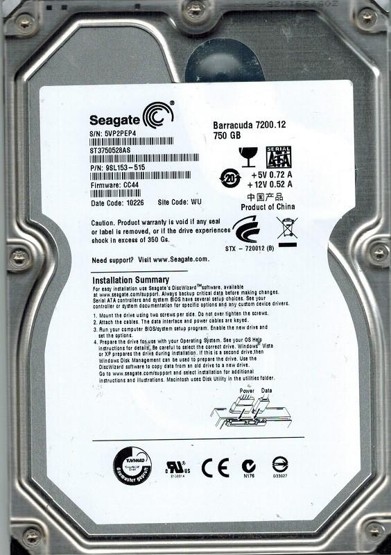 Seagate ST3750528AS F/W: CC44 P/N: 9SL153-515 WU 750GB