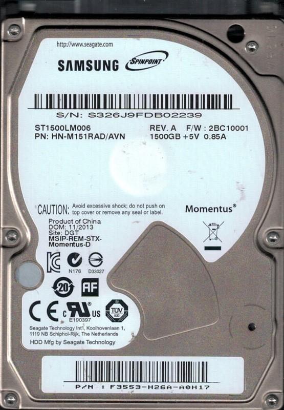 Samsung ST1500LM006 P/N: HN-M151RAD/AVN F/W: 2BC10001 1.5TB