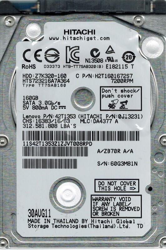HTS723216A7A364 Hitachi MLC: DA4377 P/N: 0J13231 160GB