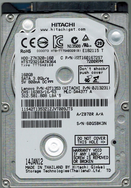 Hitachi HTS723216A7A364 P/N: 0J13231 MLC: DA4377 160GB