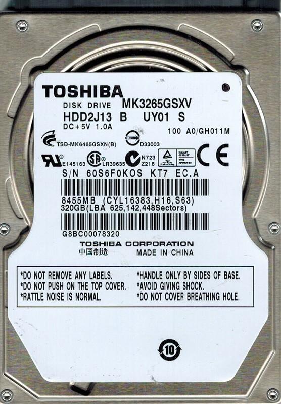 Toshiba MK3265GSXV HDD2J13 B UY01 S 320GB SATA