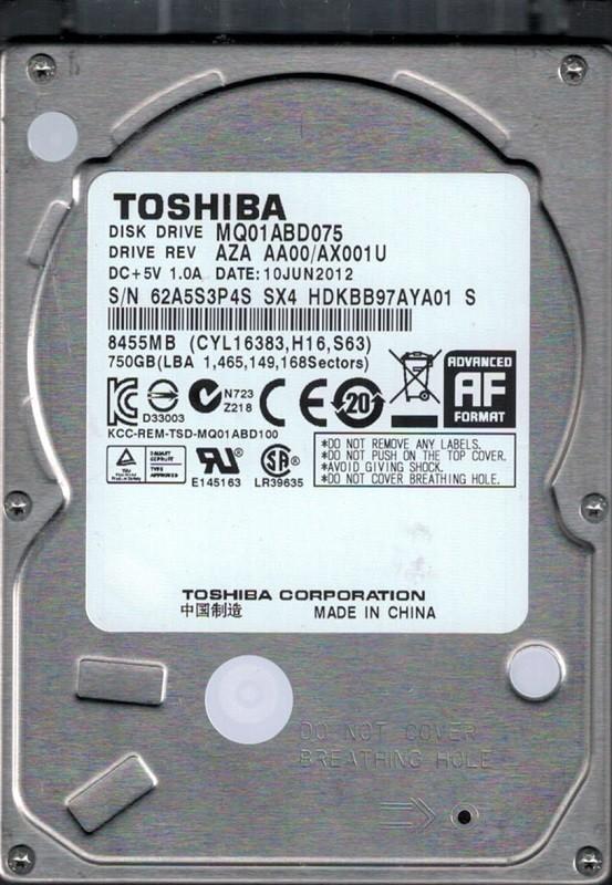 Toshiba MQ01ABD075 AZA AA00/AX001U 750GB CHINA