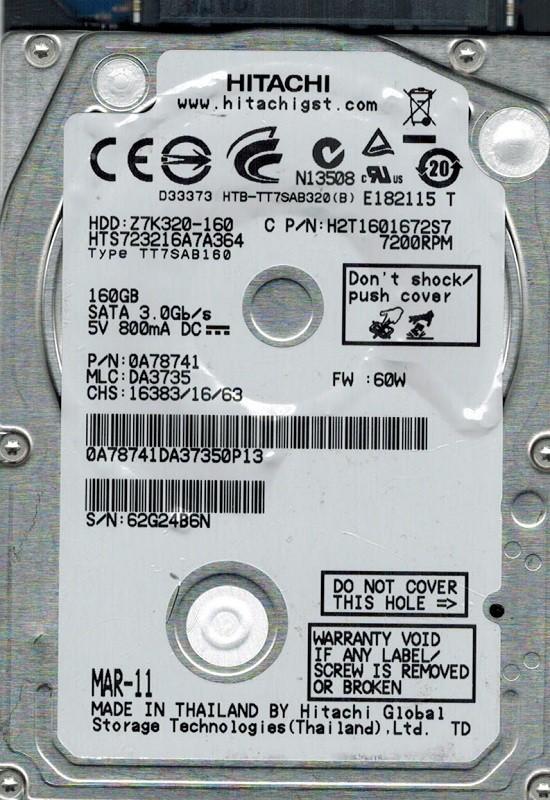 Hitachi HTS723216A7A364 P/N: 0A78741 160GB MLC: DA3735