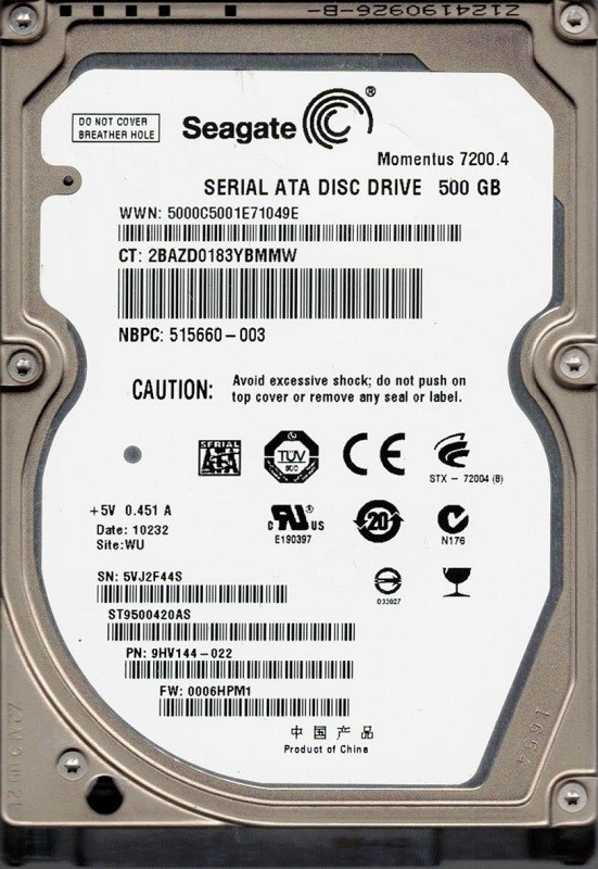 Seagate ST9500420AS P/N: 9HV144-022 F/W: 0006HPM1 WU 5VJ 500GB