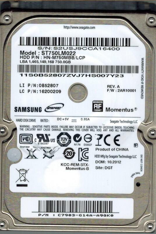 Samsung ST750LM022 HN-M750MBB/LCP 750GB  P/N: C7903-G14A-A9QK0 Seagate