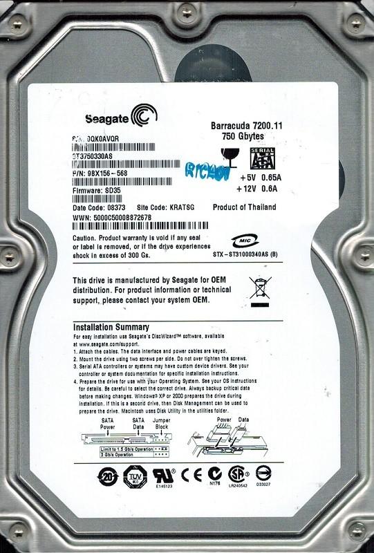 Seagate ST3750330AS P/N: 9BX156-568 F/W: SD35 750GB KRATSG