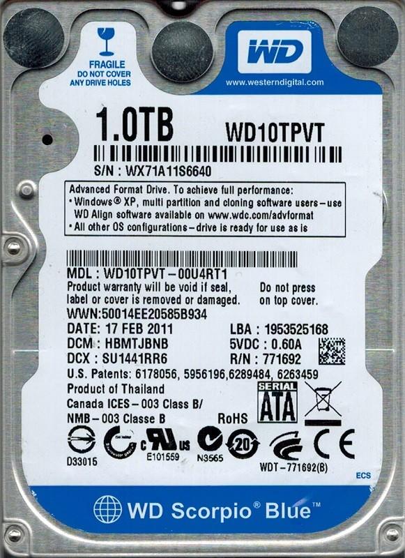 Western Digital WD10TPVT-00U4RT1 1TB DCM: HBMTJBNB