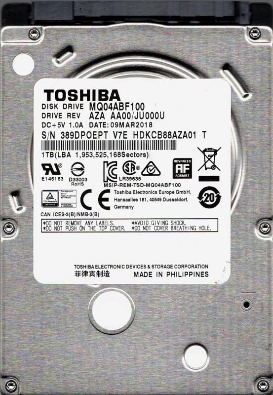 MQ04ABF100 AZA AA00/JU000U PHILIPPINES Toshiba 1TB
