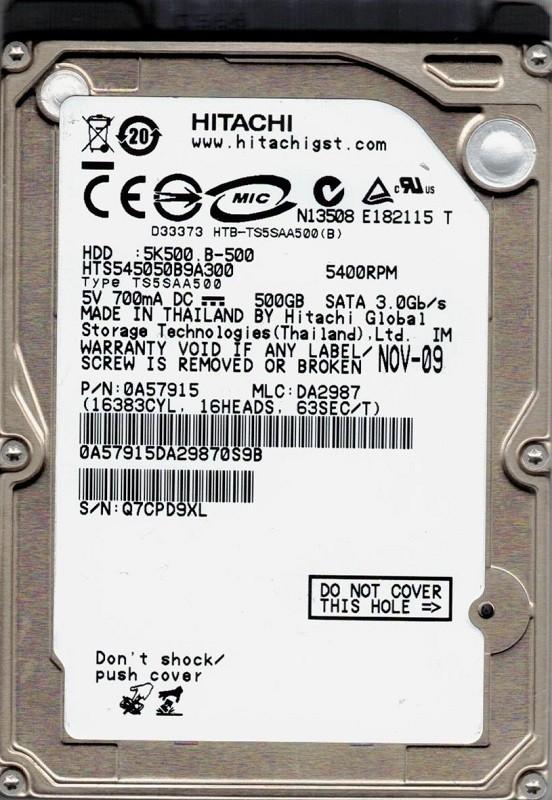Hitachi HTS545050B9A300 P/N: 0A57915 500GB MLC: DA2987