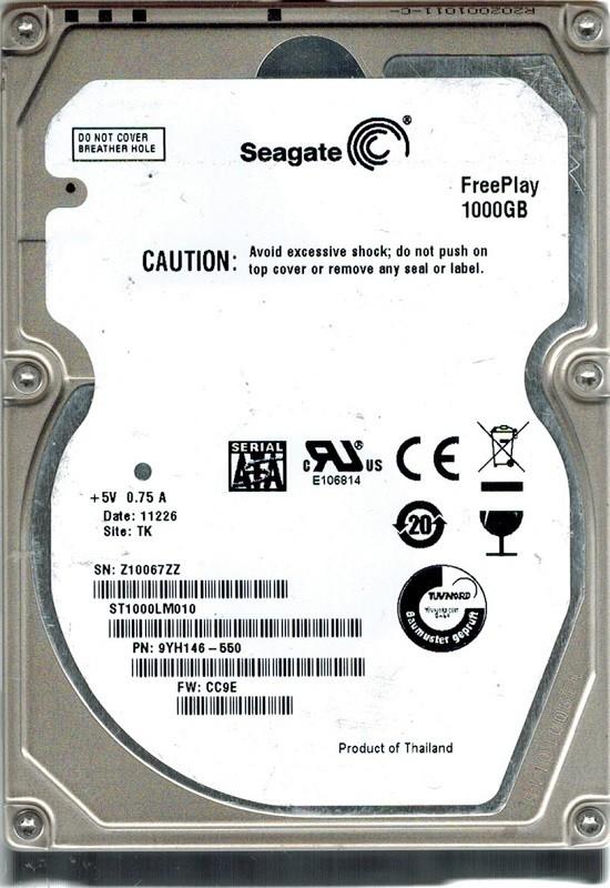 Seagate ST1000LM010 P/N: 9YH146-550 F/W: CC9E 1TB TK FreePlay