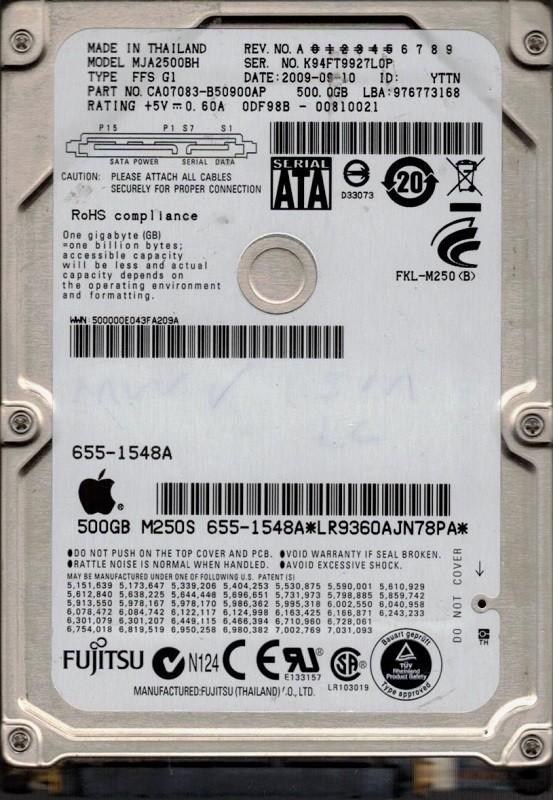 Fujitsu MJA2500BH P/N: CA07083-B50900AP 500GB MAC 655-1548A DATE:  2009-09-10