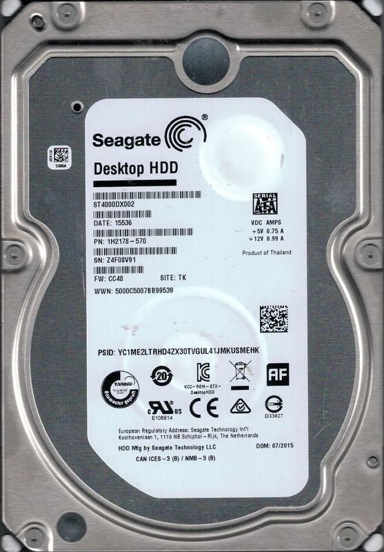 ST4000DX002 P/N: 1H2178-570 F/W: CC48 TK Z4F Seagate 4TB Desktop HDD
