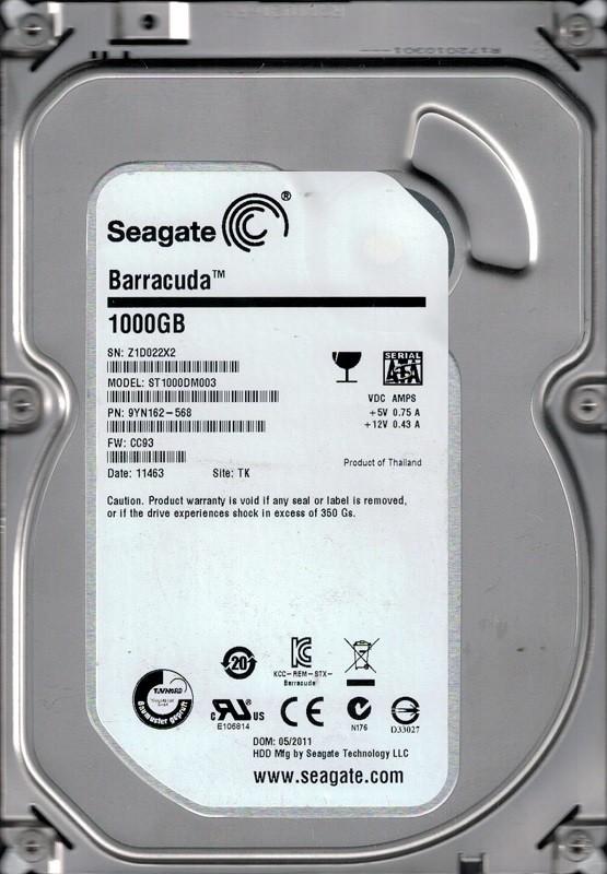 Seagate ST1000DM003 P/N: 9YN162-568 F/W: CC93 TK Z1D 1TB