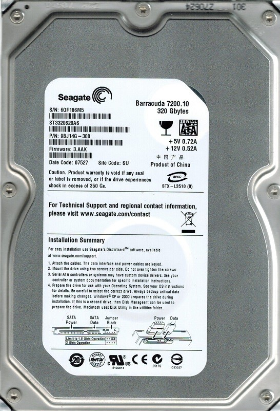 Seagate ST3320620AS P/N: 9BJ14G-308 F/W: 3.AAK SU 320GB