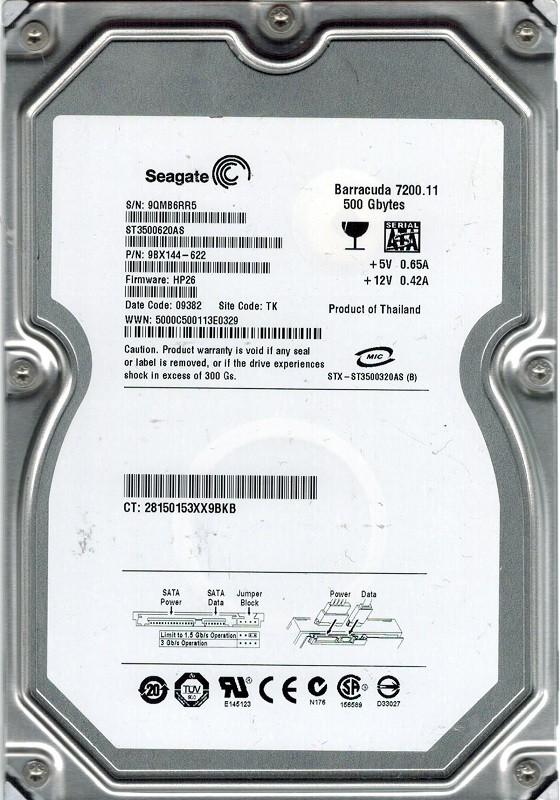 ST3500620AS Seagate P/N: 9BX144-622 F/W: HP26 TK 500GB