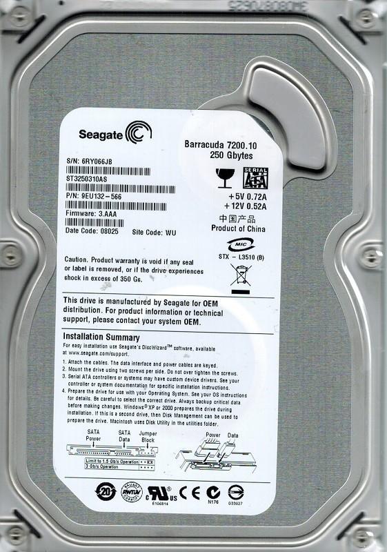 Seagate ST3250310AS P/N: 9EU132-566 F/W: 3.AAA 250GB WU