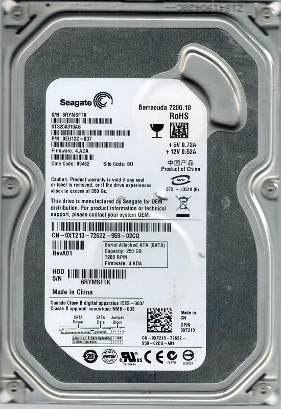 Seagate ST3250310AS P/N: 9EU132-037 F/W: 4.ADA 250GB SU
