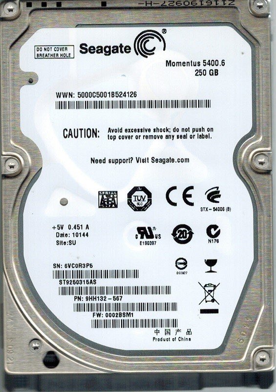 Seagate ST9250315AS P/N: 9HH132-567 F/W: 0002BSM1 250GB SU