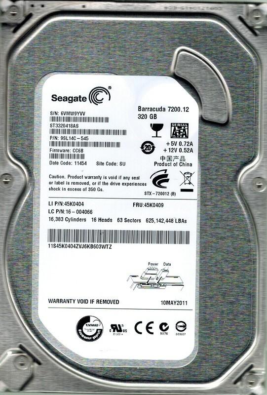 Seagate ST3320418AS P/N: 9SL14C-545 320GB F/W: CC6B SU