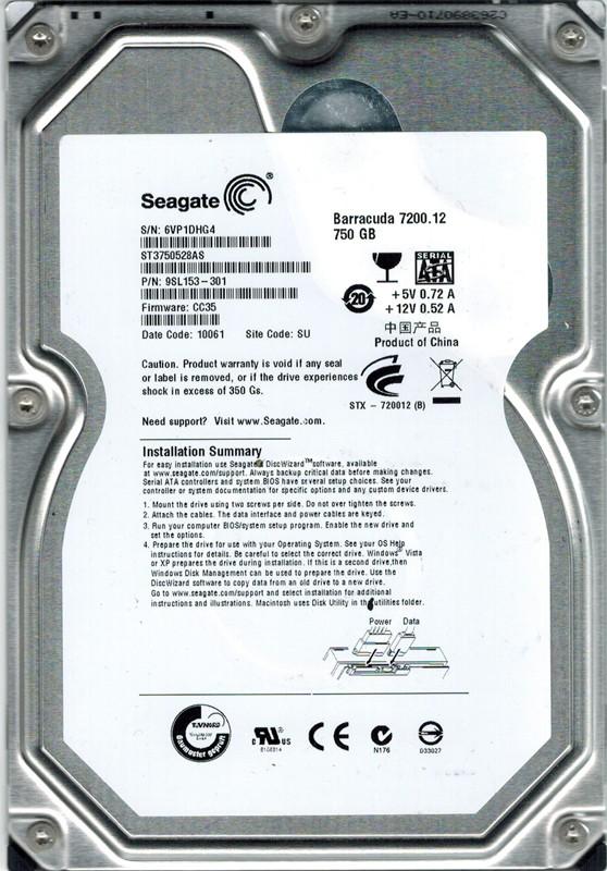 Seagate ST3750528AS P/N: 9SL153-301 750GB F/W: CC35 SU