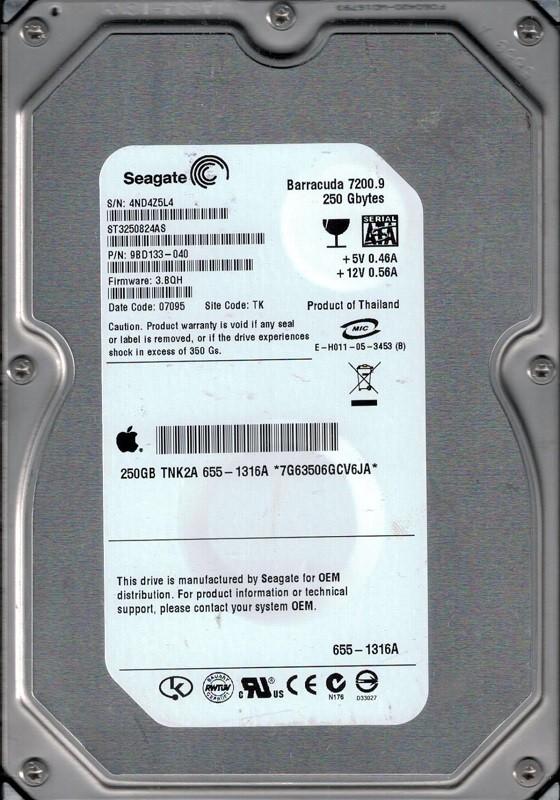 Seagate ST3250824AS P/N: 9BD133-040 F/W: 3.BQH MAC 655-1316A 250GB TK 4ND