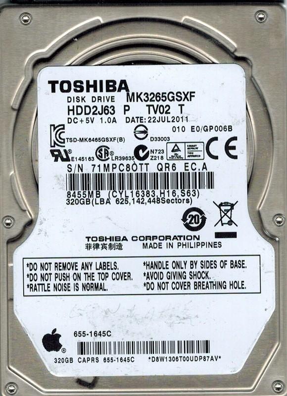 Toshiba MK3265GSXF 320GB HDD2J63 P TV02 T MAC APPLE