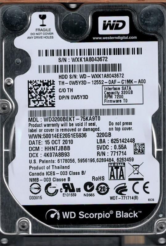 Western Digital WD3200BEKT-75KA9T0 320GB DCM: HHNTJBBB