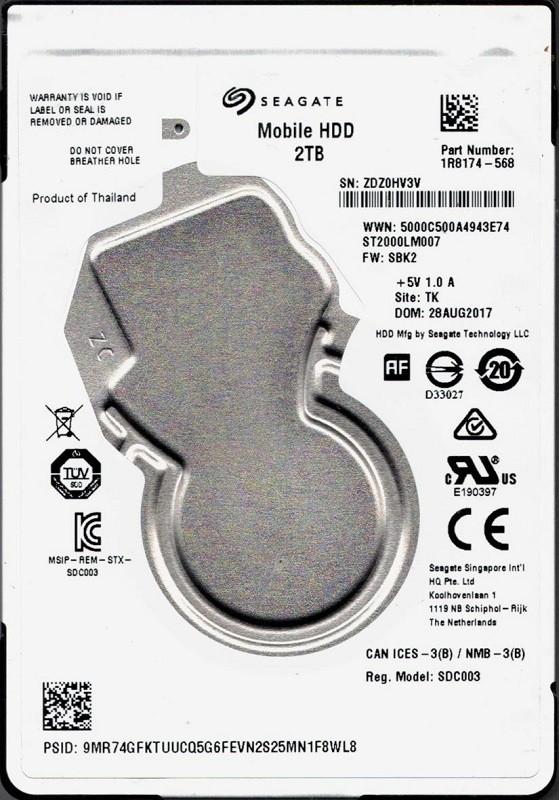 ST2000LM007 P/N: 1R8174-568 F/W: SBK2 TK ZDZ Seagate 2TB Mobile HDD