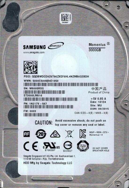 ST3000LM016 P/N: 1N217V-567 F/W: 0003 WU W80 Samsung 3TB