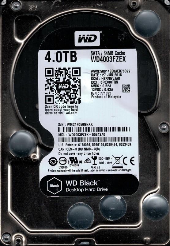 Western Digital WD4003FZEX-00Z4SA0 4TB DCM: HBRNNVJAB