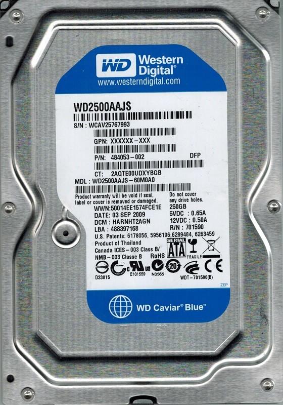 Western Digital WD2500AAJS-60M0A0 250GB DCM: HARNHT2AGN