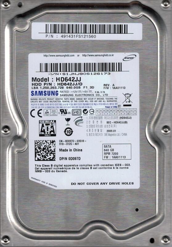HD642JJ/D P/N: 491431FS121560 F/W: 1AA01113 Samsung 640GB