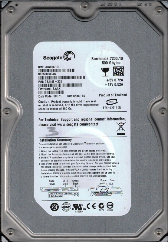 Seagate ST3500630AS 500GB P/N: 9BJ146-308 F/W: 3.AAK TK 9QG