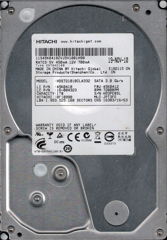 Hitachi HDS721010CLA332 1TB P/N: 0F10998 MLC: JPT3FE China