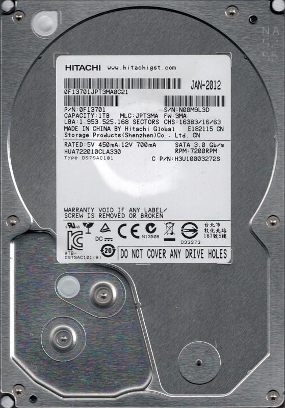 Hitachi HUA722010CLA330 P/N: 0F13701 MLC: JPT3MA 1TB