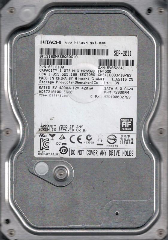 HDS721010DLE630 P/N: 0F13180 MLC: MRS5Q0 China Hitachi 1TB