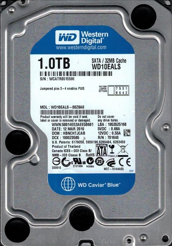 Western Digital WD10EALS-00Z8A0 1TB DCM: HBNCHTJCAB