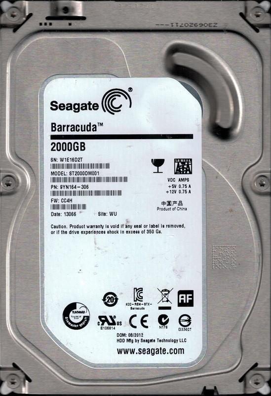 ST2000DM001 P/N: 9YN164-306 F/W: CC4H WU W1E Seagate 2TB