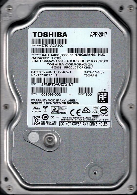 DT01ACA100 AAH AA00/800 Toshiba 1TB
