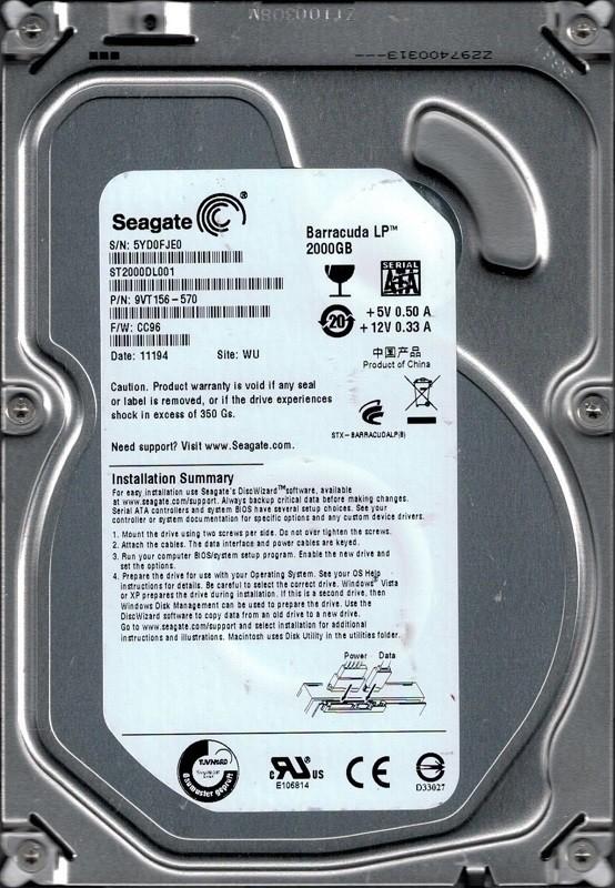 Seagate ST2000DL001 P/N: 9VT156-570 F/W: CC96 WU 5YD 2TB
