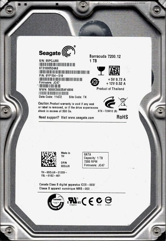 Seagate ST31000524AS P/N: 9YP154-519 F/W: JC47 1TB TK 9VP