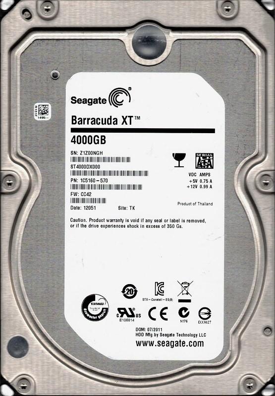 Seagate ST4000DX000 P/N: 1C5160-570 F/W: CC42 4TB TK Z1Z